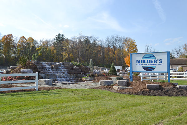 Mulder's Landscape Supplies Waterfall and Sign